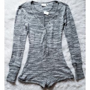 Urban Outfitters Gray Knit Romper Pajamas